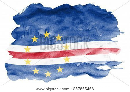Cabo Verde Flag  Is Depicted In Liquid Watercolor Style Isolated On White Background