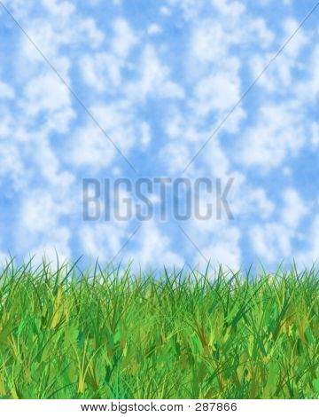 Blue Cloudy Sky And Grass Illustration