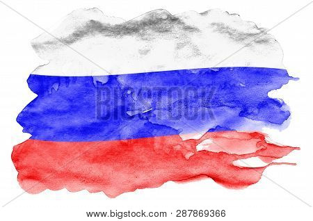 Russia Flag  Is Depicted In Liquid Watercolor Style Isolated On White Background