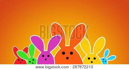 Colorful Easter Bunny As Illustration On Orange Background. Easter Rabbits Background For The Easter