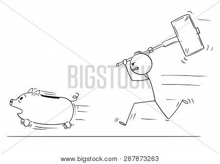 Cartoon Stick Figure Drawing Conceptual Illustration Of Angry Man Or Businessman Chasing Running Pig