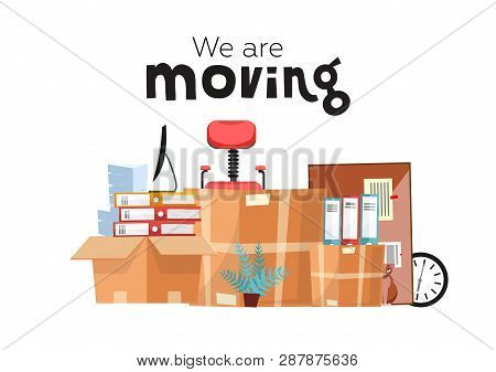 Moving To New Office With Boxes. Office Accessories In Cardboard Box Isolated On White Background -
