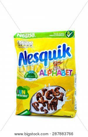 Kharkov, Ukraine - March 5, 2019: Photo Isolated On White Background - Nestle Nesquik Breakfast Cere