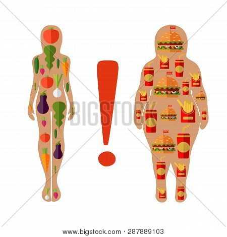 Healthy Lifestyle And Bad Habits, A Healthy Diet And Daily Routine. Choice Of Girls: Fat Or Slim.