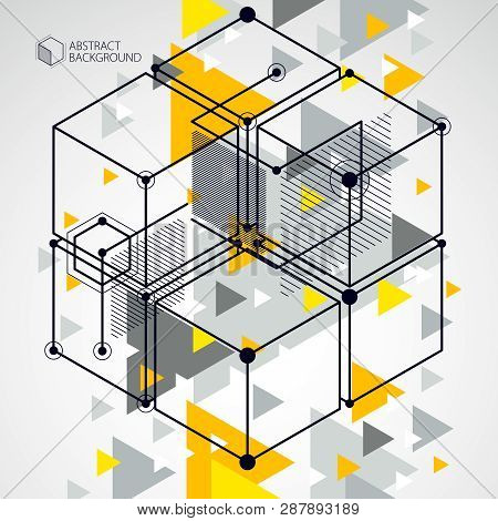 Abstract Geometric Vector Yellow Background With Cubes And Other Elements. Composition Of Cubes, Hex