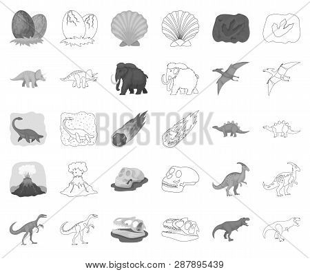 Different Dinosaurs Monochrome, Outline Icons In Set Collection For Design. Prehistoric Animal Vecto