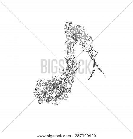 Vector Quaver Note Symbol. Vector Linear Flowers
