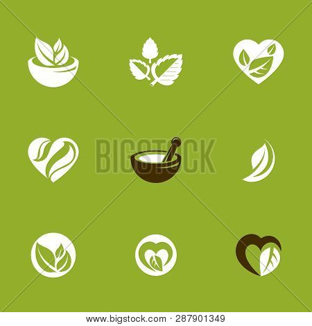 Phytotherapy Metaphor, Vector Graphic Emblems Collection. Vegetarian Lifestyle Conceptual Illustrati
