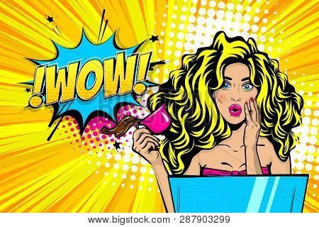 Beautiful Blonde Sexy Young Girl Wow Face Pop Art Style Vector Illustration. Emotion Surprise Super