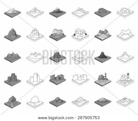 Mountains, Massive Monochrome, Outline Icons In Set Collection For Design. The Surface Of The Earth