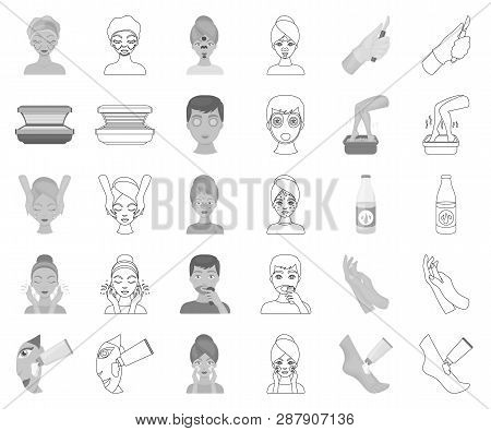 Skin Care Monochrome, Outline Icons In Set Collection For Design. Face And Body Vector Symbol Stock