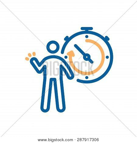 Person And Stopwatch Icon. Vector Illustration For Sports, Breaking Records, Competitive Concepts, S