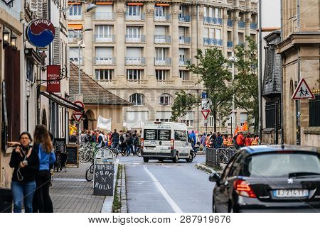 Strasbourg, France - Sep 12, 2017: View From Street At Crowd March During A French Nationwide Day Of