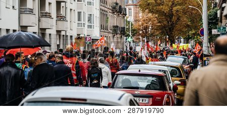 Strasbourg, France - Sep 12, 2017: Rear View Of Large Crowd At Political March During A Nationwide D