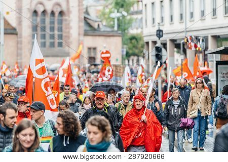 Strasbourg, France - Sep 12, 2017: Young And Adults At Political March During A French Nationwide Da