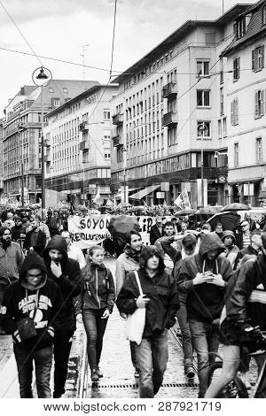 Strasbourg, France - Sep 12, 2017: Monochrome Photo Of Political March During A French Nationwide Da