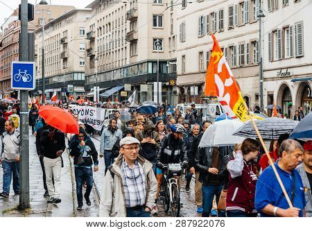 Strasbourg, France - Sep 12, 2017: French People At Political March During A French Nationwide Day O