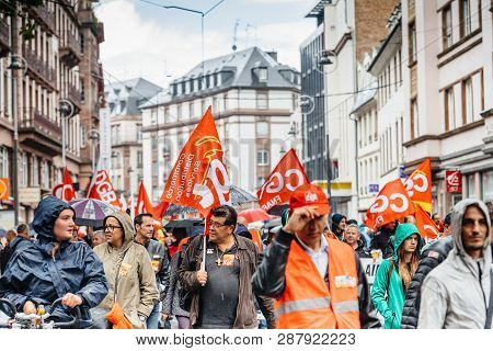 Strasbourg, France - Sep 12, 2017: Young And Adult People At Political March During A French Nationw