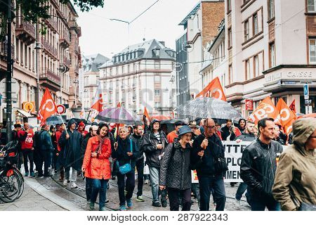 Strasbourg, France - Sep 12, 2017: People Marching In City Center Political March During A French Na