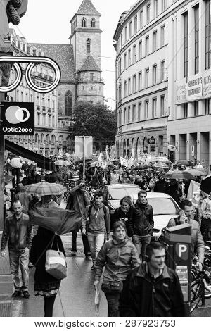 Strasbourg, France - Sep 12, 2017: Black And White Image Political March During A French Nationwide
