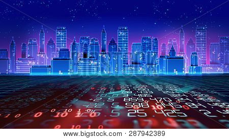 Digital City Scape With Retro Style Elements 3D Illustration