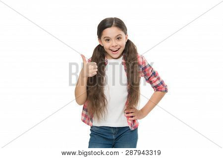 Deal with tangled hair. Girl cute kid with ponytails isolated on white. Tangled hair remedies. Barber salon and hair care. Conditioner oil or nourishing mask before brushing. How to comb long hair. poster