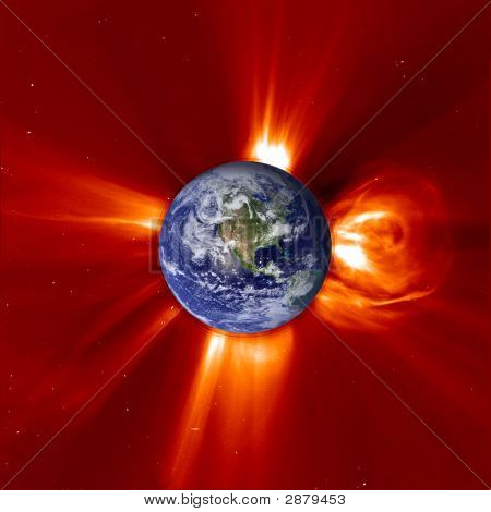 Global Warming - View Of Western Earth & Solar Flare