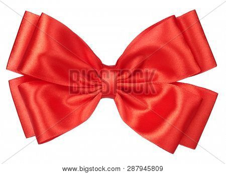 Red hair bow tie or gift ribbon tied