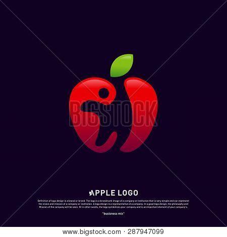 Apple With Fun People Healthy Life Logo Concept. Apple Creative Logo Vector Template. Icon Symbol