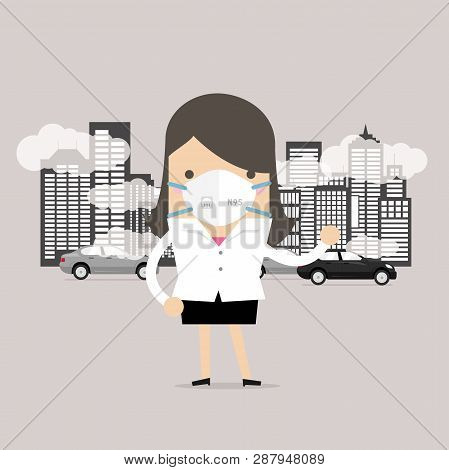 Businesswoman Wearing Protective Mask Before Going To Work. Dust Mask N95 Prevent Pm2.5,air Pollutio