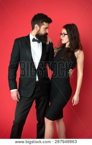 Bearded Gentleman Wear Tuxedo Girl Elegant Dress. Formal Dress Code. Visiting Event Or Ceremony. Cou