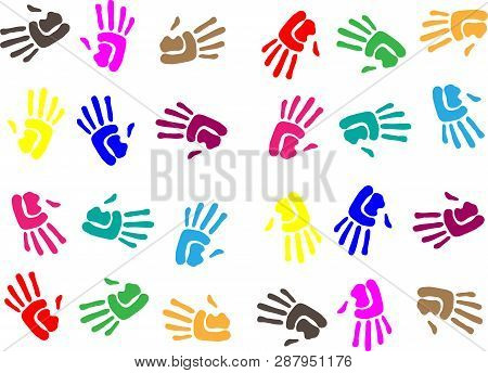 Handprint Background Concept. Human Hand Print Illustration.seamless Background Made From Color Hand