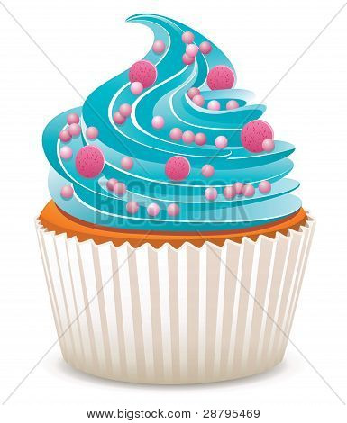 Vector Blue Cupcake With Sprinkles
