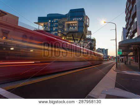 Blurred Motion Of Newly Installed Light Rail In Newcastle Cbd Australia. The Cbd Area Of Newcastle I