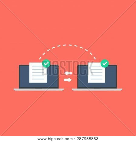 Notebooks File Transfer. Data Transmission, Ftp Files Receiver And Notebook Computer Backup Copy. Do