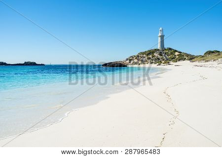 Pinky Beach Is A Popular Beach On Rottnest Island. Crystal Clear Water During Beautiful Day On Rottn