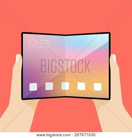 Foldable Screen Phone In Hand. Smartphone With Large Screen And Display Is Flexible To Bend.