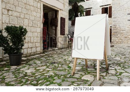 Blank White Outdoor Advertising Stand, Sandwich Board Mock Up Template. Clear Street Signage Board P