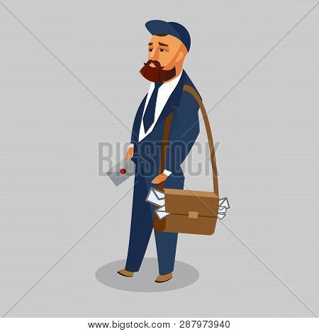 Postman In Professional Uniform Vector Clipart. Mailman With Letter, Envelope Flat Illustration. Cou