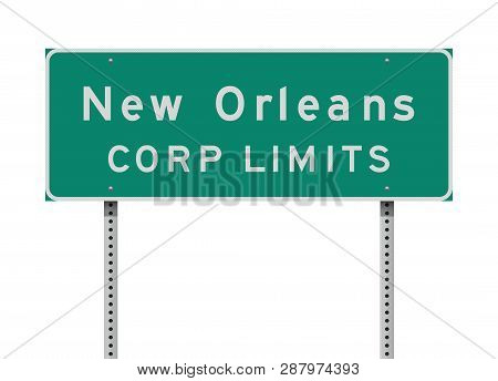 Vector Illustration Of The New Orleans Corp Limit Green Road Sign
