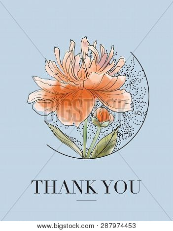 Womans Day Decoration. Vector Botanical Banners With Beautiful Orange Big Flower And Typography. Sin