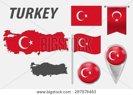 Turkey. Collection Of Symbols In Colors National Flag On Various Objects Isolated On White Backgroun