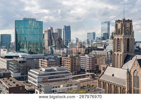 Rotterdam, Netherlands - March 27, 2016 : Rotterdam Downtown Skyline Aerial View Around Blaak Metro