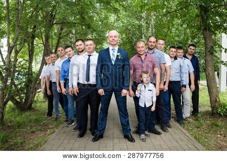 Kirov, Russia - July 27, 2018: Groom During The Fun Of The Brides Ransom With His Friends