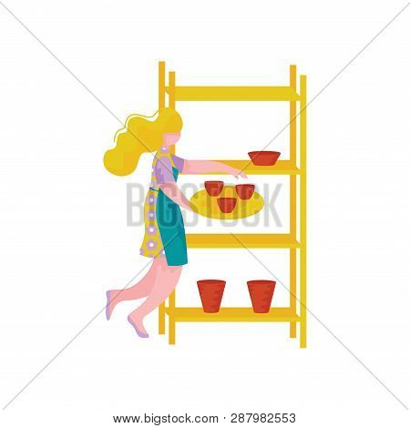Young Woman Ceramists Working At Pottery Workshop, Craft Hobby Or Profession Vector Illustration