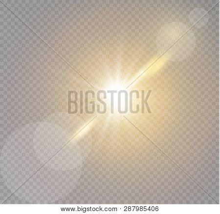 Vector transparent sunlight special lens flash light effect.front sun lens flash. Vector blur in the light of radiance. Element of decor. poster