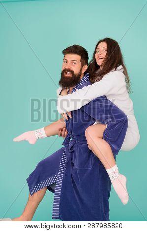 Just Having Fun. Funny Romantinc Couple In Love. Perfect Funny Morning. Having Fun. Woman And Bearde
