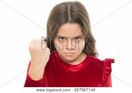 Threatening With Physical Attack. Kids Aggression Concept. Aggressive Girl Threatening To Beat You.