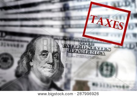 Hundred Dollar Bills American money United States denomination wealth red taxes stamp tax owed or refund