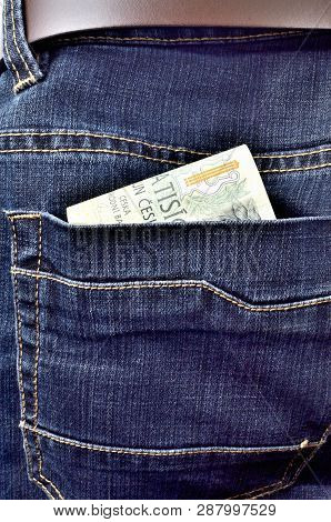 Money Banknotes In The Back Pocket Of Jeans With Belt, Thousand, Two Thousand Czech Crowns - Vertica